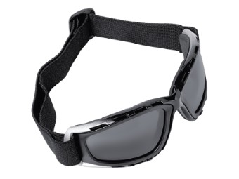 Motorradbrille schwarz-silber