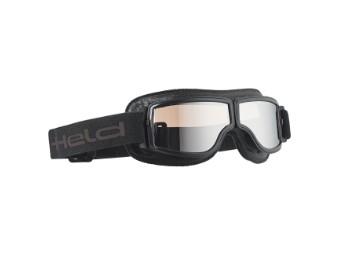 Classic Goggle Motorradbrille Schwarz-Silber