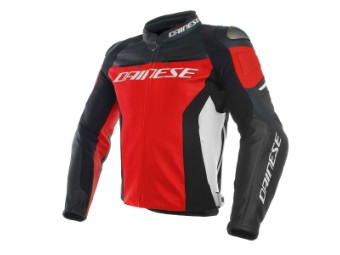 Racing 3 Lederjacke rot/schwarz/weiß