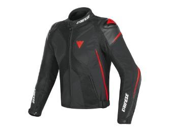 Super Rider D-Dry Jacke schwarz/neon-rot