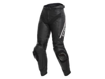 Delta 3 Damen Lederhose schwarz/weiß