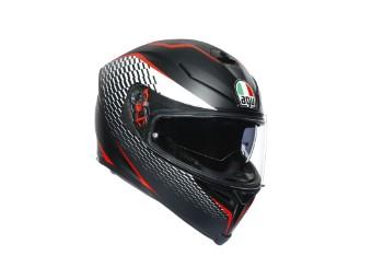 K5 S Thunder Helm schwarz/weiss/rot
