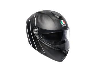 Sportmodular Refractive Carbon Klapp-Helm matt-schwarz/silber