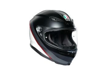 K6 Minimal Helm schwarz/weiss/rot