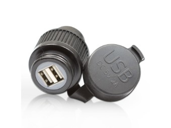 Doppel-USB-Bordsteckdose Kabellänge 120cm | 12V DC | Ø 28mm