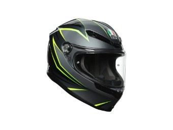 K6 Flash grau/schwarz/yellow-lime Helm