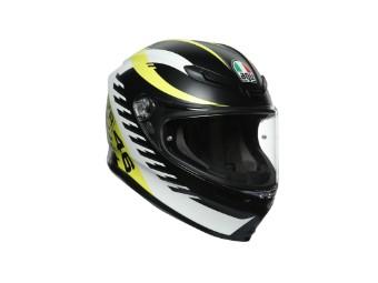 K6 Rapid 46 schwarz/weiss/gelb Helm