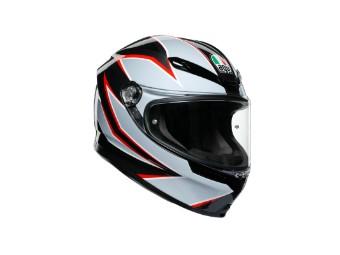 K6 Flash matt-schwarz/grau/rot Helm