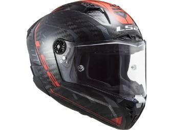 FF805 Thunder Sputnik Metal Red Carbon Helm