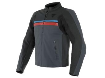 HF 3 Lederjacke schwarz/ebony/rot/blau