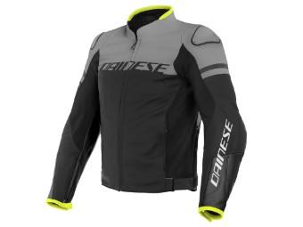 Agile Lederjacke schwarz/grau/neon-gelb