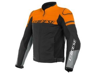 Agile Lederjacke schwarz/orange/grau