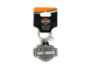 Harley Davidson Vinyl Bar & Shield Schlüsselanhänger, Grau/Schwarz