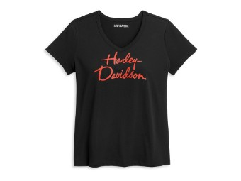 Damen T-Shirt Script, schwarz