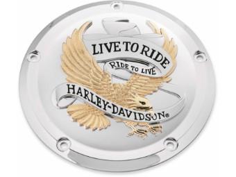 Live To Ride Derby Deckel, Gold und Chrom
