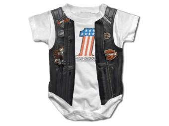 Baby Bodysuit, gedruckte Kunstleder Weste, weiß