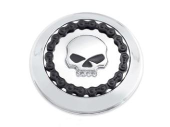 Tankdeckel-Verzierung Skull & Chain chrom
