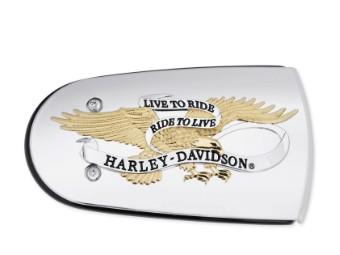 Luftfilter-Zierblende Live To Ride gold & chrom