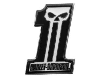 Anstecker No.1-Skull Dark -Pin Biker Sammlerstück Emblem mit Stifteverschluss Merchandise Accessoire