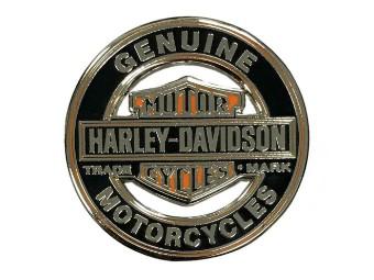 1.25inch. Bar & Shield Trademark Cutout Pin, Silber Finish