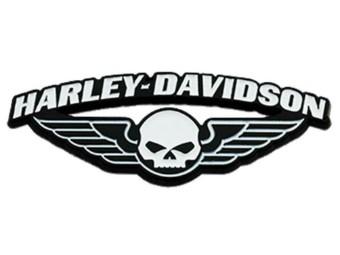 1,75 Zoll. Flügel Skull Metall-Pin, schwarz & weiß lackiert