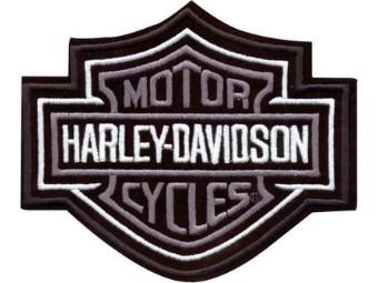 5,6 Zoll gesticktes graues Bar & Shield Logo-Emblem zum Aufnähen
