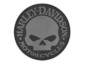 8 Zoll. Gesticktes Willie G Skull Logo Emblem Aufnäher - Grau