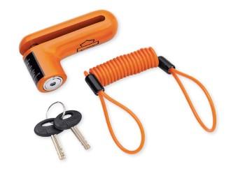 Harley Davidson Bremsscheibenschloss und Erinnerungskabel Orange