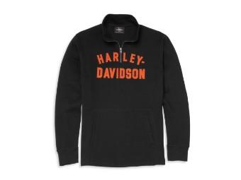 Harley Davidson Racer Font 1/4-Zip Pullover schwarz
