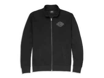 Harley Davidson Zip Sweatshirt Mockneck Bar & Shield Stick, schwarz
