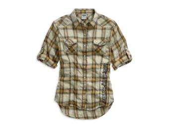 Damen-Web-Shirt, Bar & Shield Plaid Tee, Gold