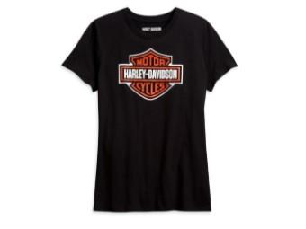 Harley Davidson Damen T-Shirt, Bar & Shield, schwarz