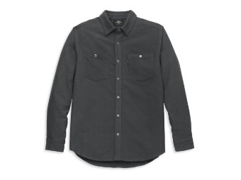 Herren Biker Hemd Langarm Motorrad Freizeithemd aus Baumwolle für Männer Modisches Langarmhemd