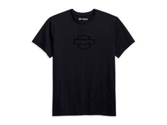 Harley Davidson, schwarzes T-Shirt mit Bar & Shield aus glänzenden Gummi