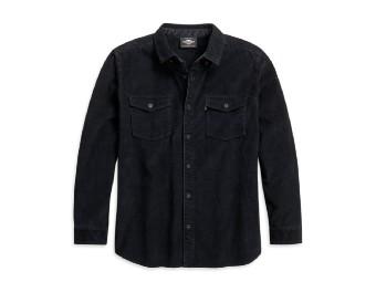 Harley Davidson, Herren-Cordhemd - Slim Fit, dunkel grau
