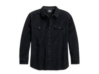 Harley Davidson, Herren-Cordhemd - Regular Fit, dunkel grau
