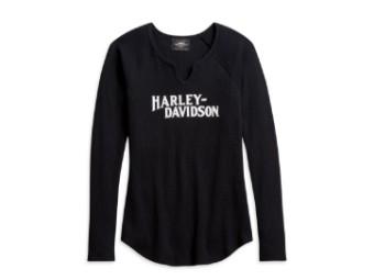 Damen Longsleeve Shirt, schwarz mit weißer Aufschrift