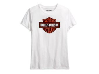Harley Davidson Damen T-Shirt, Bar&Shield, weiß