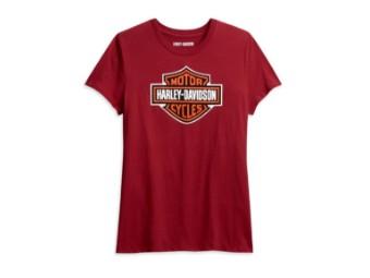 Harley Davidson Damen T-Shirt, Bar & Shield, rot