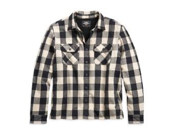 Biker Hemdjacke, Karo, für Männer, Slim Fit, schwarz/weiß, Harley Davidson