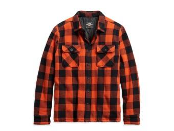 Biker Herren Hemdjacke Karo schwarz/orange, Harley-Davidson, Orange, Schwarz,