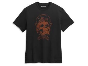 Herren T-Shirt aus Baumwolle Skull Space Tee Shirt - Kurzarm Oberteil für Männer mit Rippstrick Rundhals