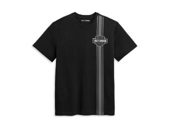 T-Shirt Vertical Stripe Bar & Shield schwarz