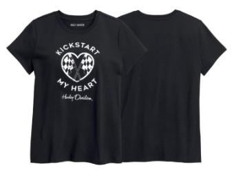 Damen T-Shirt Kickstart My Heart, schwarz