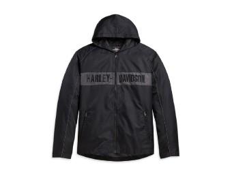 Harley Davidson Kapuzen-Streifen-Jacke für Männer,schwarz/grau