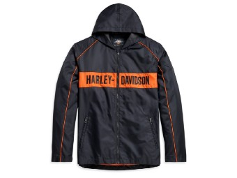 Harley Davidson Kapuzen-Streifen-Jacke für Männer, schwarz/orange