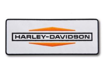 Harley Davidson Patch, weiß/orange