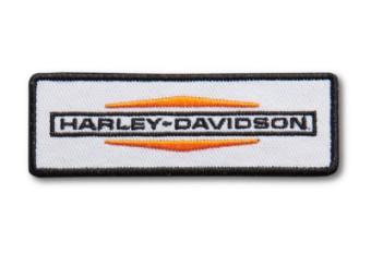 Harley Davidson Logo, kleines Bügeleisen-Abzeichen, orange/weiß