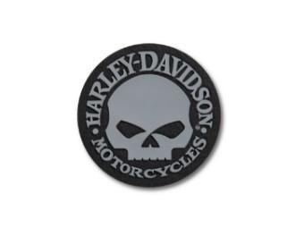 Harley Davidson, runder Skull Patch, grau