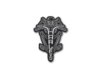 Harley Davidson, Skelette on Bike Patch, schwarz/weiß, 21cm